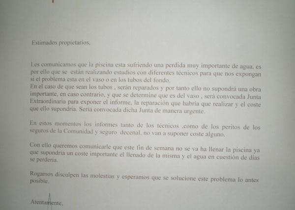 Carta de la administración de fincas